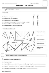 Triangles – Cm1 – Evaluation – Isocèles, équilatéral, rectangles, isocèles rectangles, quelconques