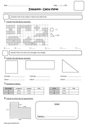 Calcul d'aires - Cm1 - Evaluation - Surface