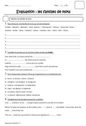 Familles de mots - Cm2 - Evaluation