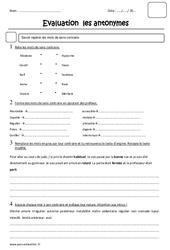 Antonymes – Mots de sens contraire – Cm2 – Evaluation