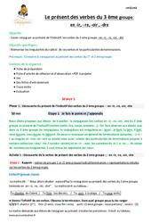Présent des verbes du 3 ème groupe en -ir, – re, -oir, -dre – Cm2 – Fiche de préparation