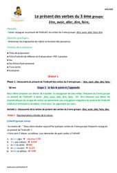 Présent des verbes du 3 ème groupe - CM2 - Fiche de préparation