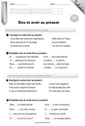 Être et avoir au présent – Ce2 – Evaluation – Bilan