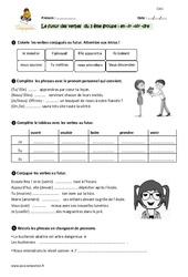 Futur des verbes en –er et –ir (finir) – Cm1 – Exercices à imprimer