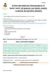 Futur des verbes du 3 ème groupe  –ir –oir  -re -dre – Cm1 – Fiche de préparation
