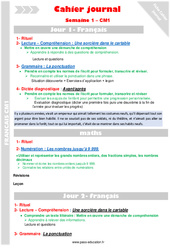 Semaine 1 – Cm1 – Cahier journal – PES – Stagiaires, jeunes profs…