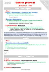 Semaine 1 - Cm1 - Cahier journal - PES - Stagiaires, jeunes profs...