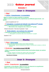 Semaine 6 – Cm2 – Cahier journal – PES – Stagiaires, jeunes profs…