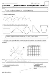 Angle droit – Droite perpendiculaire – Ce2 – Evaluation