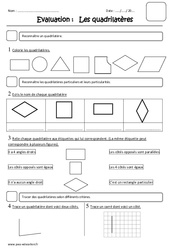 Quadrilatères – Ce2 – Evaluation
