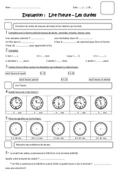 Lire l'heure – Durées – Ce2 – Evaluation