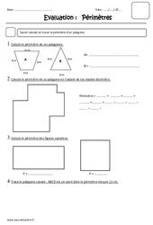 Mesure de périmètre – Ce2 – Evaluation
