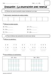Soustraction avec retenue – Ce1 – Evaluation