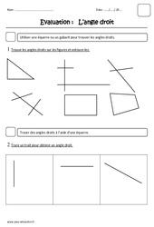 Angle droit – Ce1 – Evaluation