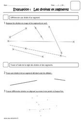 Droites et segments – Ce1 – Evaluation