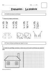 Symétrie - Ce1 - Evaluation