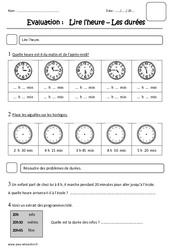 Heure – Durées – Ce1 – Evaluation