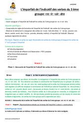 Imparfait de l'indicatif des verbes du 3 ème groupe en -re -ir-oir -dre - CM1 - Fiche de préparation