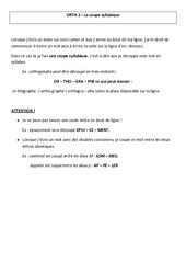 Coupe syllabique – Leçon – Cm2 – Orthographe – Cycle 3