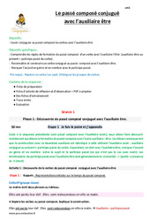 Passé composé conjugué avec l'auxiliaire être – Cm1 – Fiche de préparation
