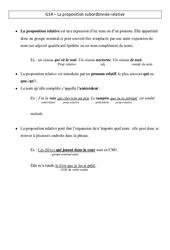 Proposition subordonnée relative – Leçon – Cm1 – Grammaire – Cycle 3