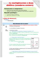 Multiplication à deux chiffres (nombres entiers) – Cm1 – Fiche de préparation