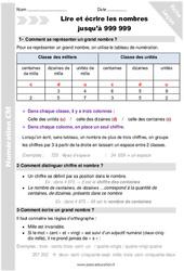 Lire, écrire les nombres jusqu'à 999 999 – Cm1 – Séance 1 – Leçon
