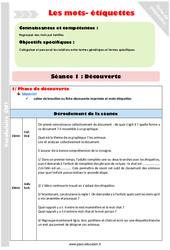 Mots-étiquettes – Cm1 – Fiche de préparation