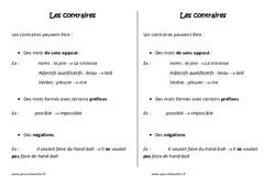 Contraires – Leçon – Ce2  – Vocabulaire – Cycle 3