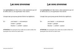 Synonymes - Leçon – Ce2