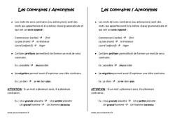 Contraires - Antonymes -  Leçon – Cm1 – Vocabulaire – Cycle 3