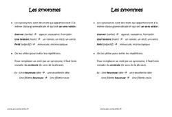 Synonymes - Cm1 - Leçon