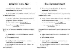 Sens propre et sens figuré -  Leçon – Cm1 – Vocabulaire – Cycle 3
