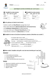 Distinguer les mots terminés par le son [eur] – Cm1 – Exercices avec correction