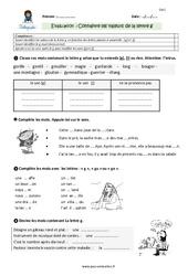 Connaitre les valeurs de la lettre g - Evaluation, bilan à imprimer pour le CM1
