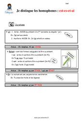Distinguez les homophones est- es- et-ai – Cm2 – Leçon