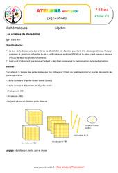 Critères de divisibilité – Algèbre – Montessori – Atelier 4