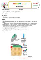 Grande division avec les éprouvettes – Algèbre – Montessori – Atelier 3