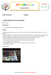Petite division avec les éprouvettes – Algèbre – Montessori – Atelier 2