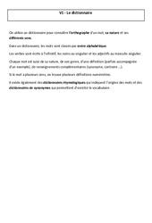 Dictionnaire -  Leçon – Cm2 – Vocabulaire – Cycle 3