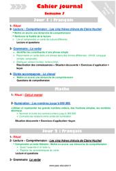 Semaine 7 - Cm1 - Cahier journal - PES - Stagiaires, jeunes profs...