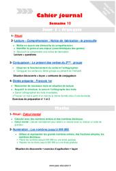 Semaine 10 - Cm1 - Cahier journal - PES - Stagiaires, jeunes profs...
