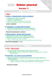Semaine 12 - Cm1 - Cahier journal - PES - Stagiaires, jeunes profs...