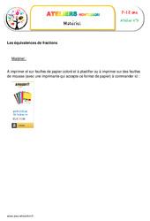 Les équivalences de fractions – Algèbre – Montessori – Liste des matériaux