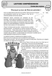 Pourquoi la tour de Pise est penchée? – Cm1 – Cm2 – Lecture compréhension – Contes des origines – Questionnaire