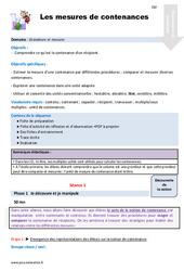 Mesures de contenances – CM1 – Fiche de préparation
