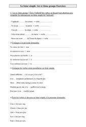 1er et 2ème groupe – Futur simple – Exercices – Conjugaison – Cm1 – Cycle 3