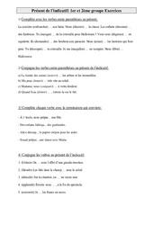 1er et 2ème groupe – Présent de l'indicatif – Ce2 – Exercices de conjugaison