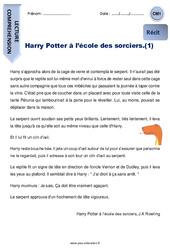 Harry Potter à l'école des sorciers. (1) – CM1 – Récit – Lecture