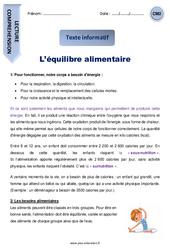L'équilibre alimentaire – CM2 – Texte informatif